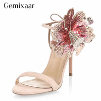 Bling Sequined Flower Catwalk Sandalias Mujer New Summer 2019 Thin High Heel Back Lace Up Beading Gladiator Sandals Women