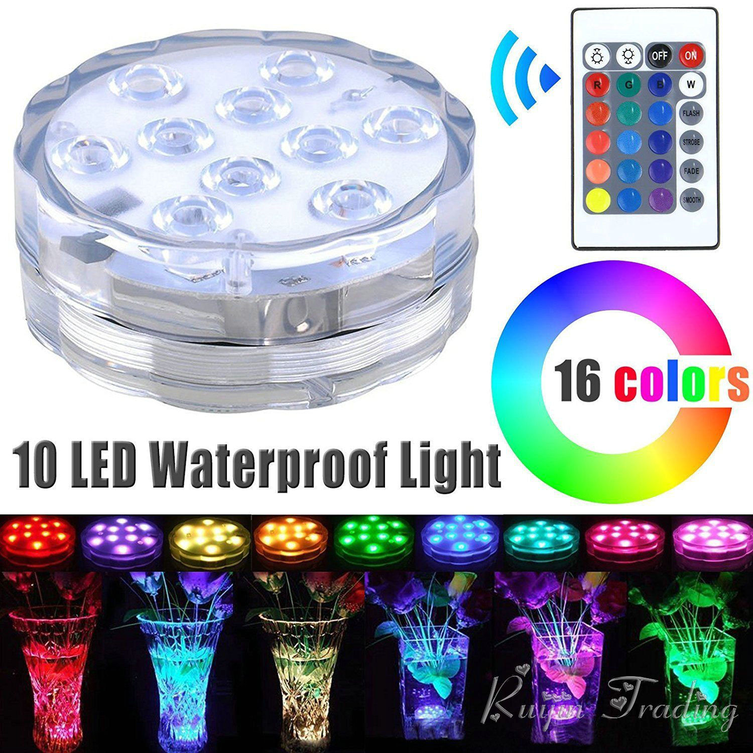 Led Underwater Lights 4w Rgb 10 Leds Light Battery Operated Waterproof Underwater Swimming 5050 Smd Diving Light Rgb Color Drop Shipping Wholesale