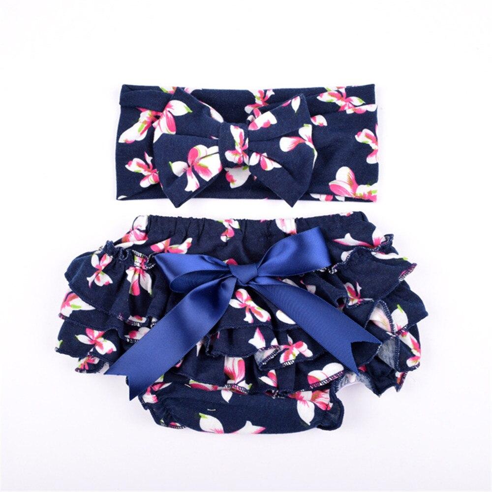 10sets lot New bloomers sets Cotton fabric bow headbands set Diaper Covered Ruffled Panties Shorts Culottes
