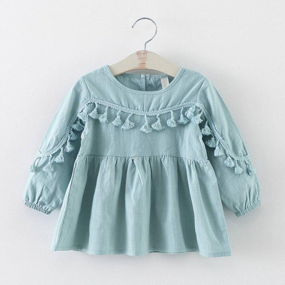 Fashion Baby Girls Kids Infant Doll Tutu Long Sleeved Dress Princess Tassel Dresses Vestidos S2770