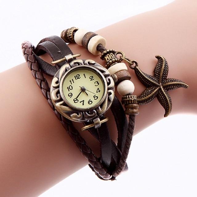 2017 Lady Starfish Bracelet Watch Clock Retro Weave Wrap Watches Genuine Leather