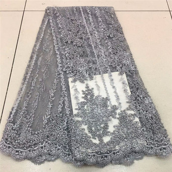 Nigerian Lace Fabric 2020 High Quality Lace French Tulle Lace Fabric With Heavy Beads Party African Lace Material RF475a