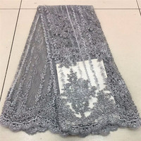 Nigerian Lace Fabric 2019 High Quality Lace French Tulle Lace Fabric With Heavy Beads Party African Lace Material RF475a