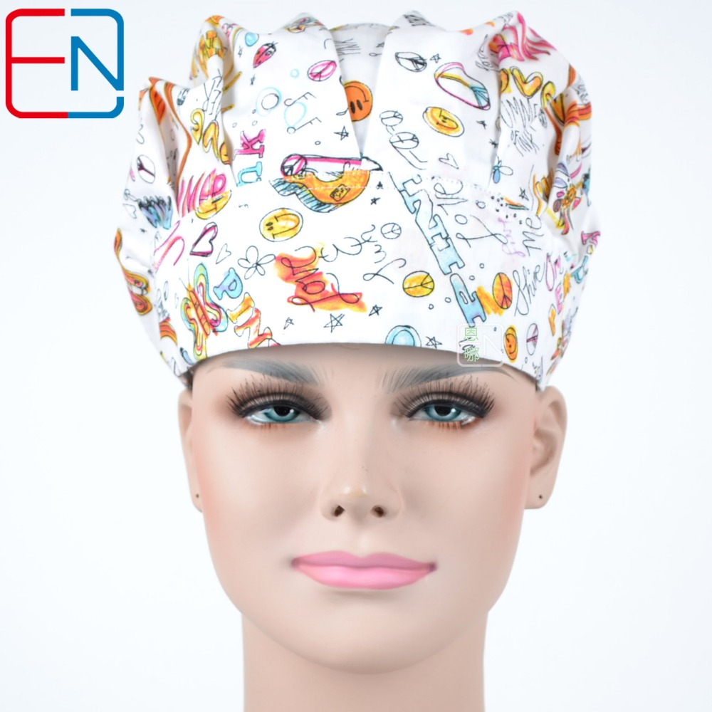 Hennar New Cotton Medical Cap Women White Print Doctors Nurses Surgical Cap High Quality Anesthesiologist Beauty Hat For Women
