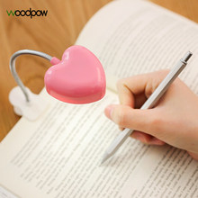 Woodpow Mini Love Heart Clip LED Book Light Lamps Reading Book Desk Lamp Keyboard Light Eyes-Protect Energy Save Night Lights(China)