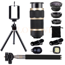 Wholesale prices 2017 Telescopic 8X Zoom Telephoto Lenses Wide Angle Macro Fish eye Lentes Selfie lamp Tripod For Phone lens For iPhone 6s 7 Plus