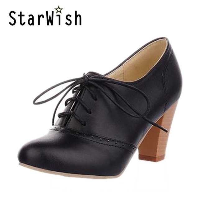 New Fashion Vintage Lacing Pointed Toe Thick Heels Women Pumps England Style Women High Heels Oxfords Shoes Sapatos Femininos