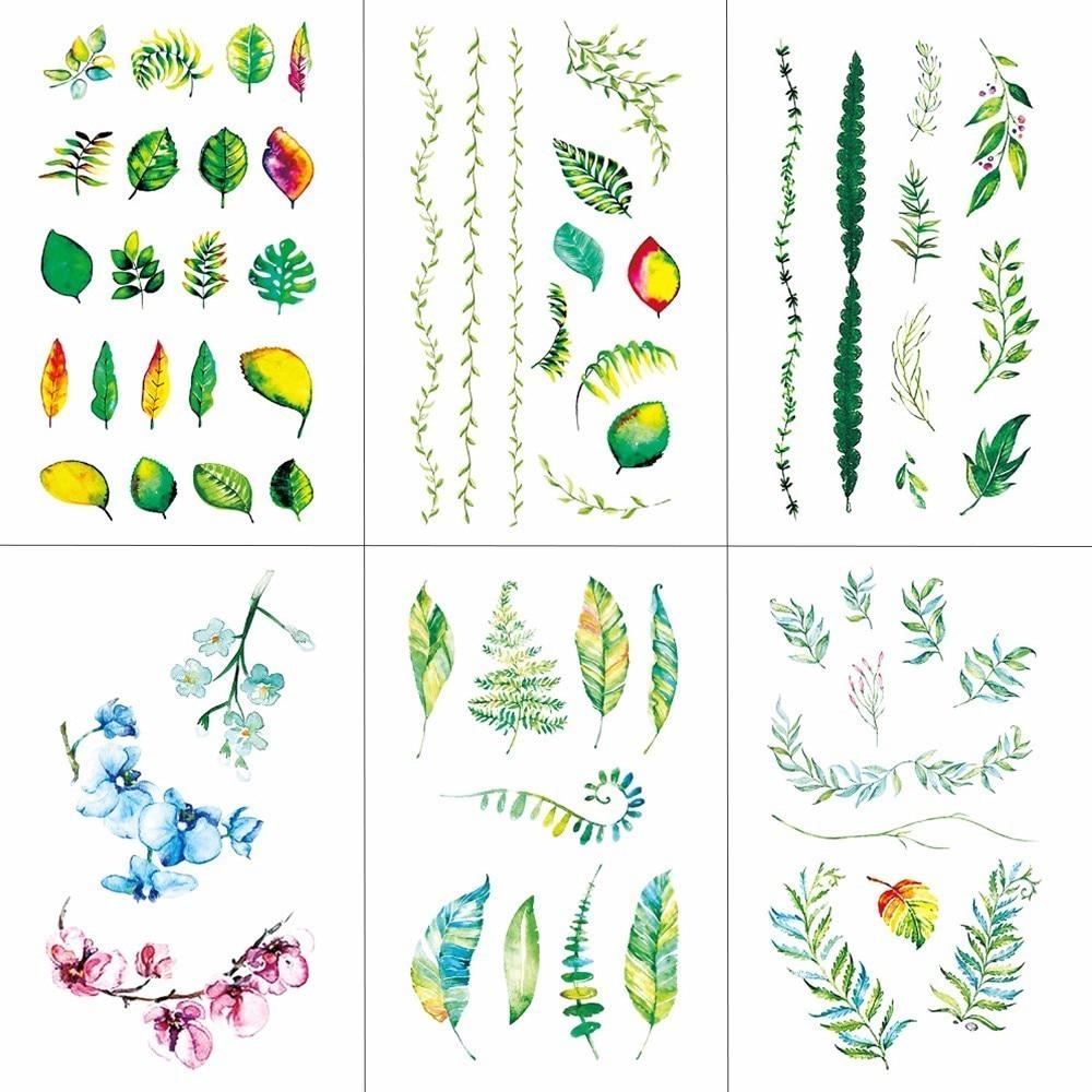 HXMAN Flower Temporary Tattoos For Women Hand Tattoo Sticker Fashion Body Art Waterproof Arm Fake Tatoo Paper 10.5X6cm P-073