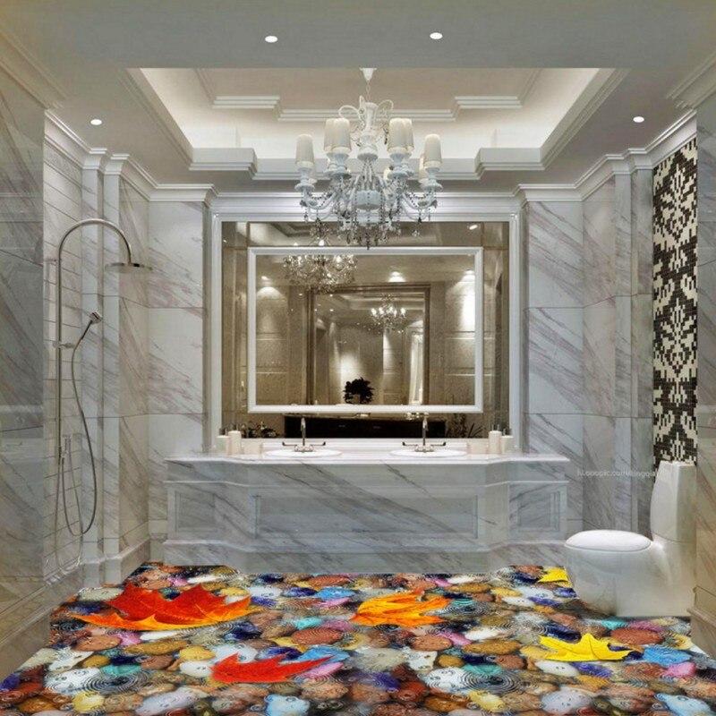 где купить Free Shipping Cobblestone water ripples maple leaf 3D Self-adhesive floor stickers bedroom bathroom hotel wallpaper mural по лучшей цене