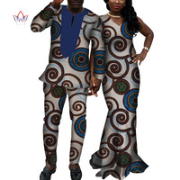 African Print Dresses for Women Bazin Riche Long Sleeveless Dresses African Men Top and Pants African Couple Clothes WYQ158