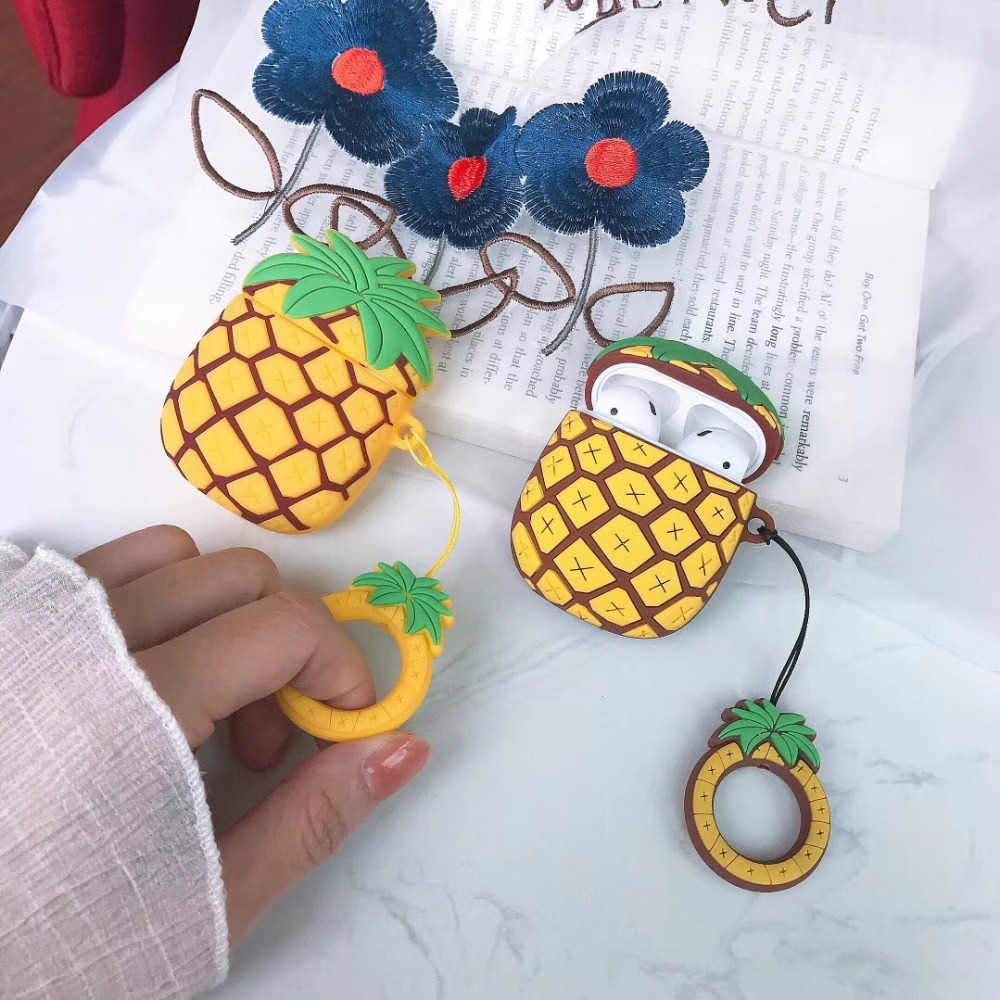 Image 3 - cartoon 3D pineapple Earphone Headset Accessories Silicone protection case For Airpods Wireless Bluetooth Headset bags-in Earphone Accessories from Consumer Electronics