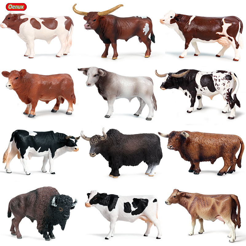 Oenux Cute Farm Animals Milk Cow Simulation Poultry Cattle Calf Bull OX  Action Figures Collection Pvc Lovely Model Toy Kids Gift| | - AliExpress