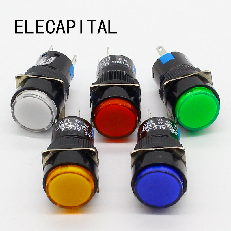 16mm DC 6V 12V 24V 220V LED Push Button Switch Blue Green Red Yellow White lamp Fixed Pushbutton Switches Latching Push On Start 0021 desk office colored abs steel push pins white yellow blue green red
