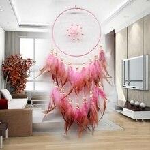 Роза Ловец снов Настенный декор перо орнамент традиционный стиль Ловец снов большой белый розовый цвет