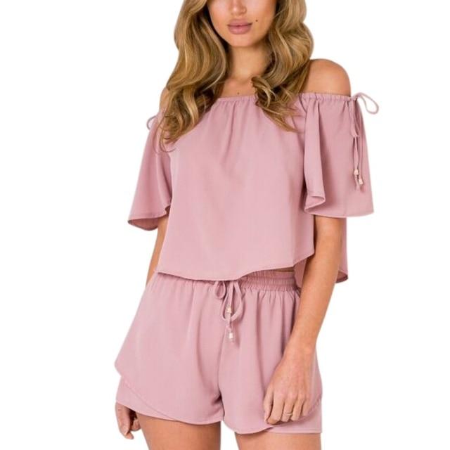 Women Chiffon Off Shoulder Slash Neck Playsuit Cool Solid Color Thin Tops Short Pants For Summer New