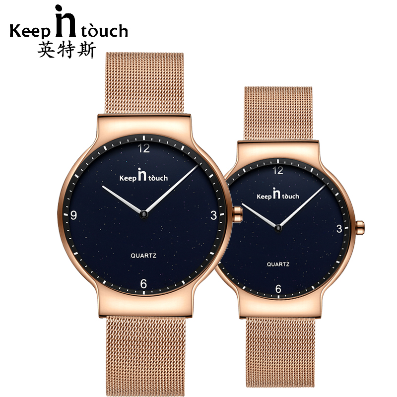 KEEP IN TOUCH Simple Gold Wrist Watch For Men And Women Quartz Lovers Watches Fashion Mesh Strap Ultra Thin Hours For Couples