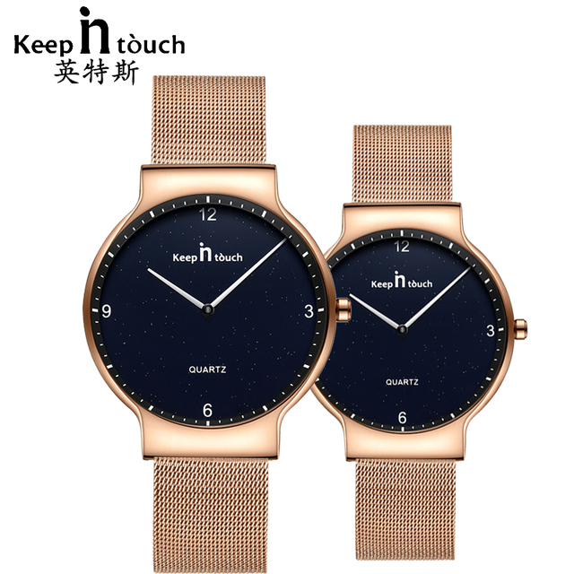 KEEP IN TOUCH Simple Gold Wrist Watch for Men and Women Quartz Lovers Watches Fa
