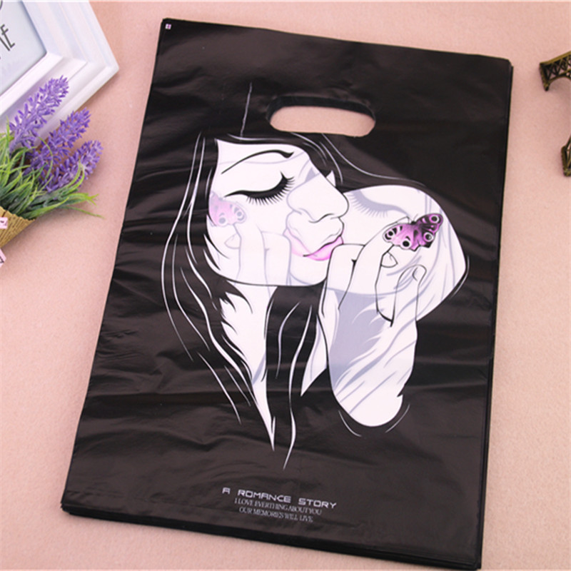 New Design Wholesale 100pcs/lot 25*35cm Luxury Fashion Girl Packaging Bags For Hair Extensions Large Shopping Plastic Bags