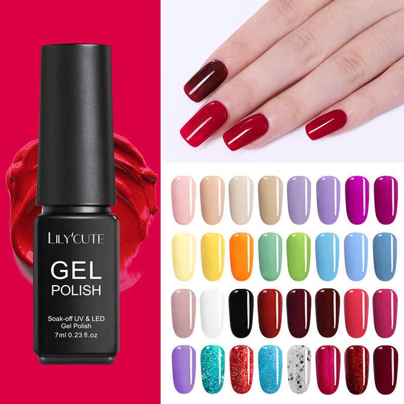 LILYCUTE 7ml Pure Nail Art Polish Set Losweken Caramel UV Gel Polish Langdurige Nail Kleur Gel Nail vernis Manicure