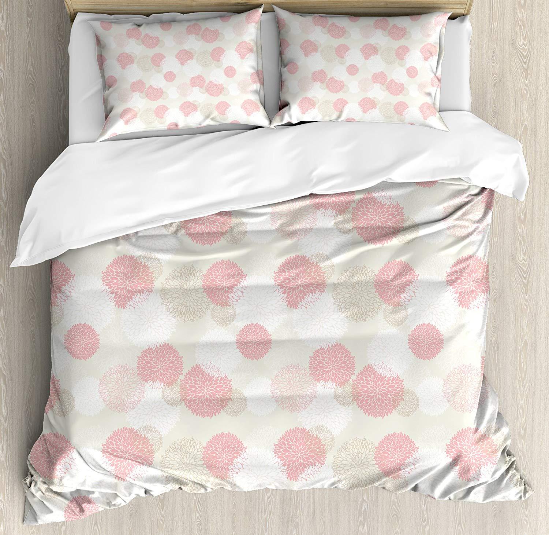 Bon Pastel Duvet Cover Set Soft Toned Spring Floral Motif With Peony Blossoms  Petals Elegance Image, Decorative 4 Piece Bedding Set