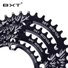BXT велосипед кривошипно круглый 104BCD 32 T/34 T/36 T/38 T звезду узкий широкий сверхлегкий MTB велосипедная Звездочка круг шатунная пластина