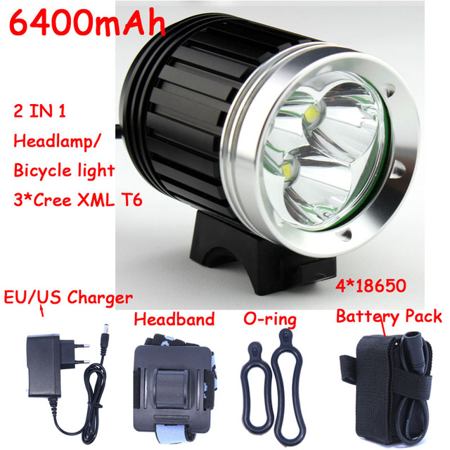 4000 Lumens 3x Cree Xm L T6 Led Headlight 3t6 Headlamp Bicycle