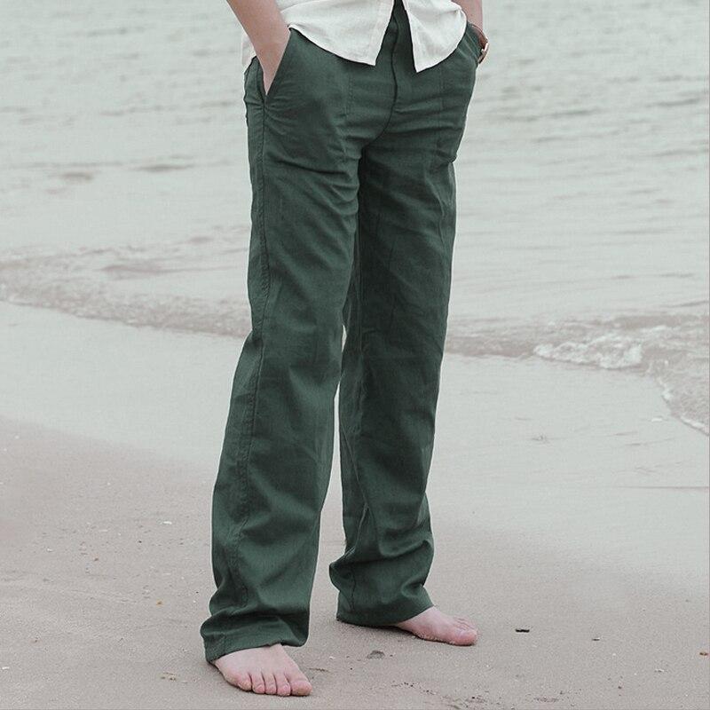 Summer Spring Men Linen Long Pants Elastic Waist Solid