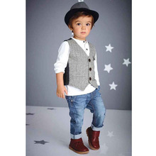 Fashion Kids Clothing Set Handsome Vetement Enfant Garcon Spring Vest+T-Shirt+Kids Jeans Children Clothing Cool Kid Clothing Set