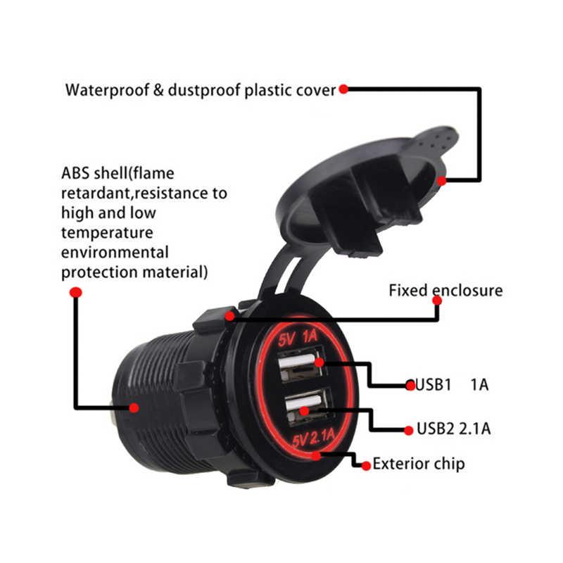 Rovtop carro duplo usb carregador capa para motocicleta auto caminhão atv barco 12 v-24 v led dupla usb soquete montagem carregador adaptador de energia z2
