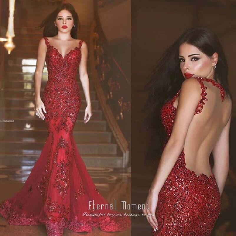 1a111702e Sexy Vestido Rojo de Noche Largo 2016 V Aplicaciones Manga Del Casquillo  Del Cuello Tribunal Tren de La Sirena Que Rebordea Vestidos de Noche Robe  de soirée ...