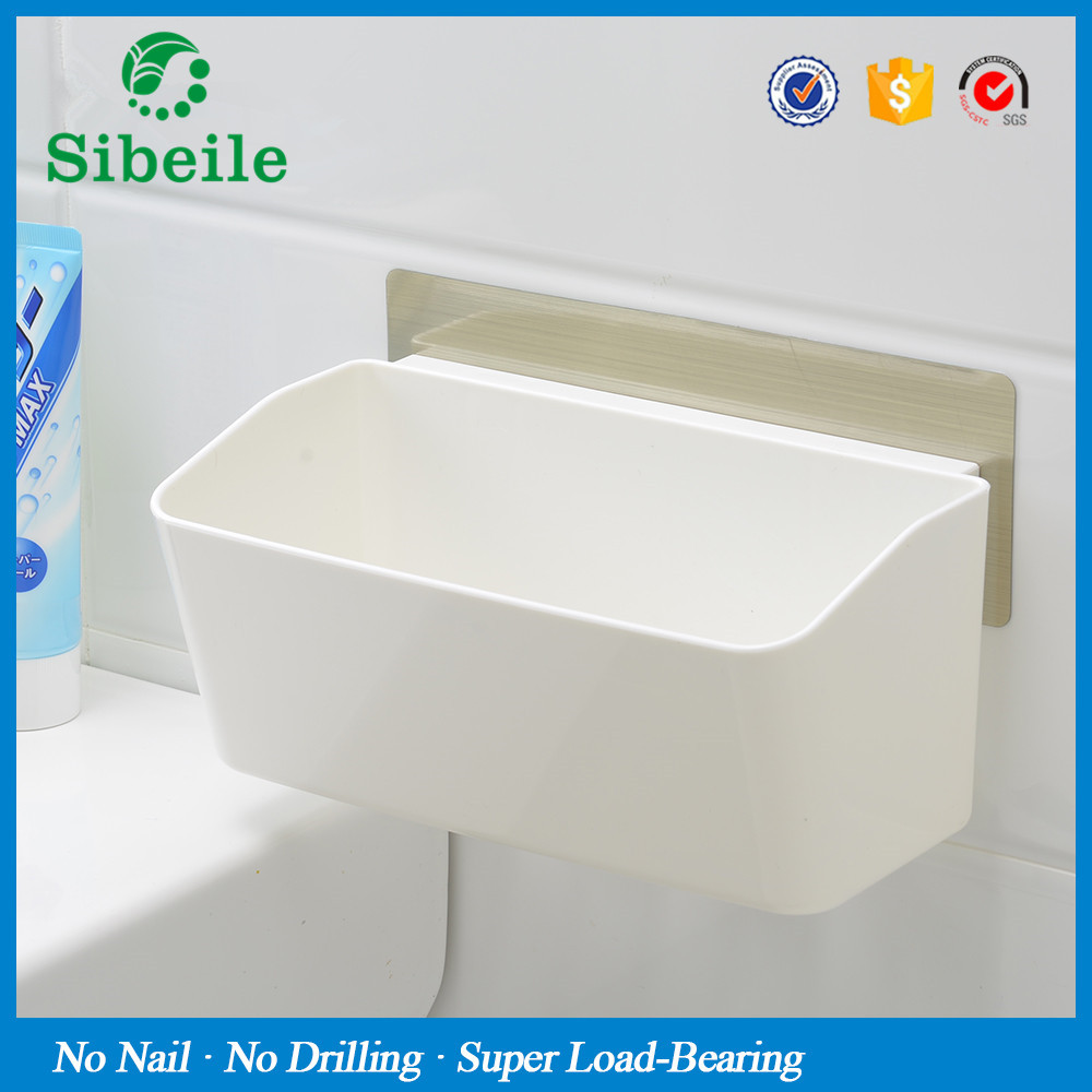 Plastic removable bath shelf wall mounted cosmetic holder storage - Sble Wall Mounted Bathroom Corner Shelf Sucker Suction Cup Plastic Shower Basket Kitchen Wall Rack Shower