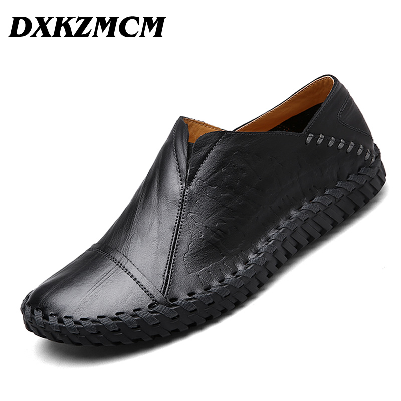 DXKZMCM Men Causal Shoes Handmade Genuine Leather Men Loafers Slip On Men Shoes dxkzmcm new men flats cow genuine leather slip on casual shoes men loafers moccasins sapatos men oxfords