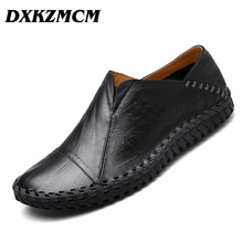 DXKZMCM Men Causal Shoes Handmade Genuine Leather Men Loafers Slip On Men Shoes