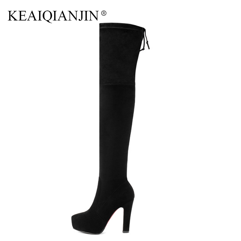 KEAIQIANJIN Woman Chelsea Over The Knee Boots Black Fashion Autumn Winter High Heeled Shoes Genuine Leather Thigh High Boots keaiqianjin black high heeled shoes autumn winter rivet lace up knee high boots woman genuine leather over the knee boots 2018