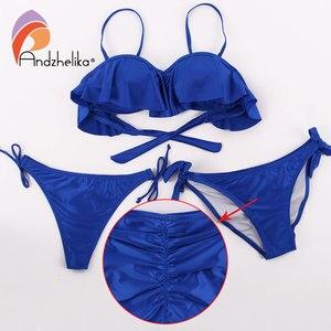 Image 5 - Anadzhelia biquínis femininos sensuais, estilo folha de lótus, conjunto de roupa de banho estilo brasileiro, maiô estilo push up com três peças de natação