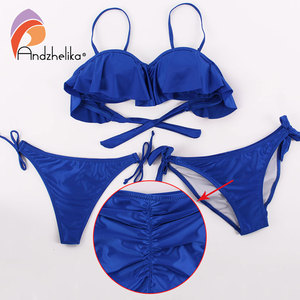 Image 5 - Anadzhelia купальник шелковый  + бикини. Летний купальник, небольшой пушап, Бразильские бикини, Пляжный костюм, хорошая мягкая чашечка, Три штук Купальники гладкая ткань,