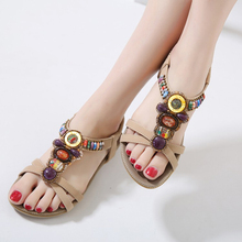 2019 Summer Women Gladiator Sandals Bohemia Casual Shoes Sexy Girls Black Apricot Flats Beach Sandals mens summer gladiator sandals 2018 rivets cutout flats sandals booties black retro criss cross straps male runway sandals