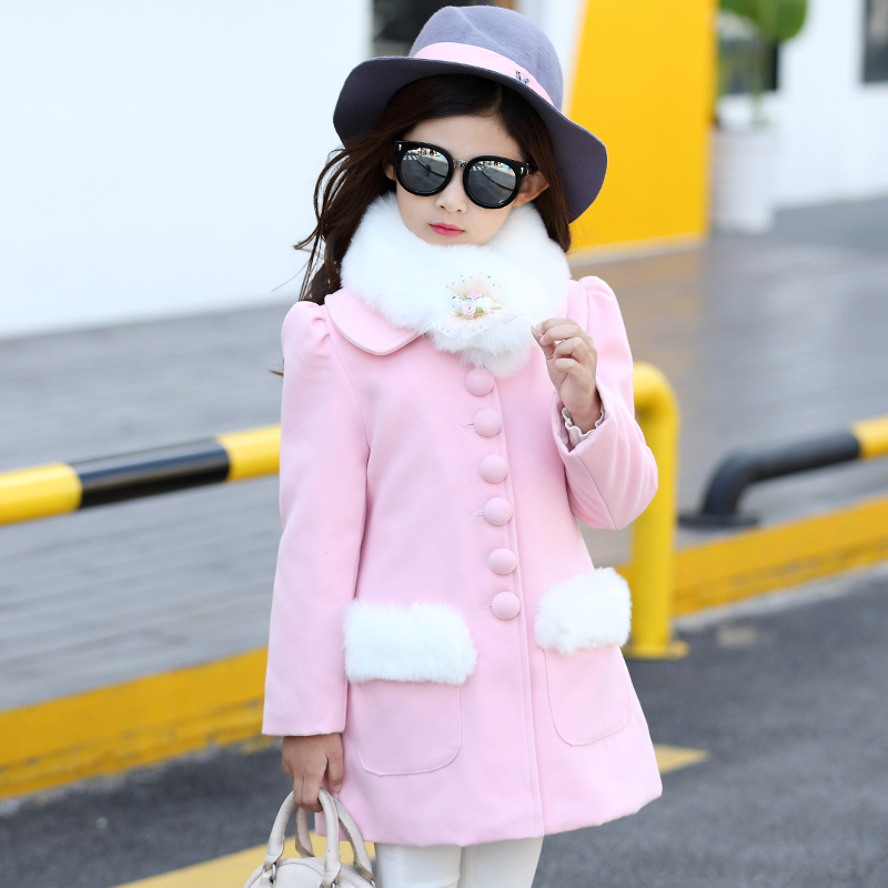 2018 New Baby Girls Autumn Winter Wool Coat Kid Long Sleeve Christmas School Cute Jacket Girls With Fur Cute Coat Kid Clothes wool blend long a line wrap coat with belt