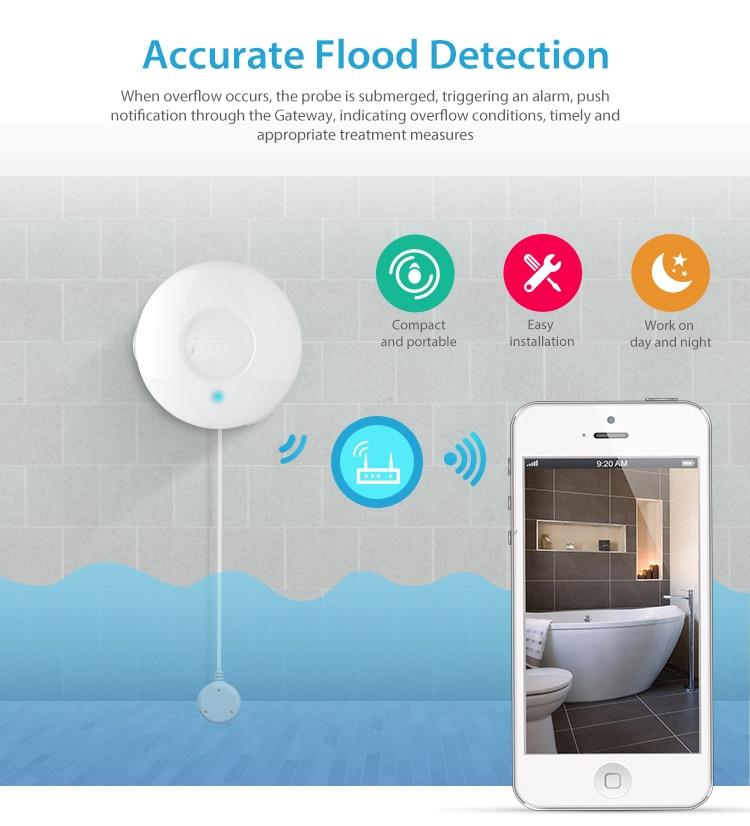 YobangSecurity Z-Vague APP Télécommande D'inondation Fuite D'eau Alarme Capteur de Fuite D'eau Capteur Détecteur D'alarme Pour La Domotique