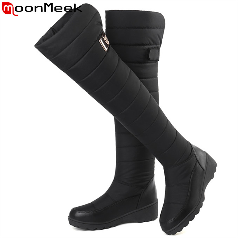 672ed27c122b Detail Feedback Questions about MoonMeek 2018 fashion winter boots round  toe keep warm down snow boots Waterproof and antiskid over the knee boots  women on ...