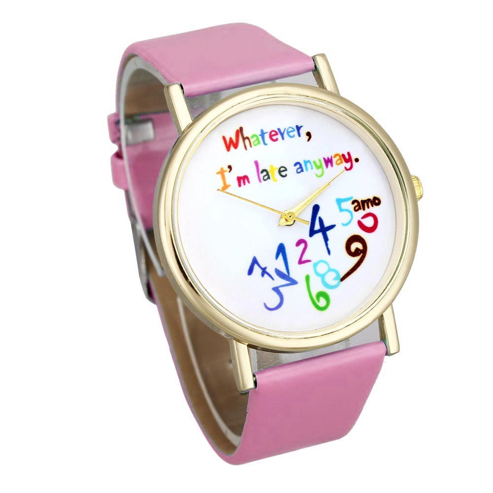 Wristwatches Women Watches Pella Whatever I am Late Anyway letter Watches Color: pink стоимость