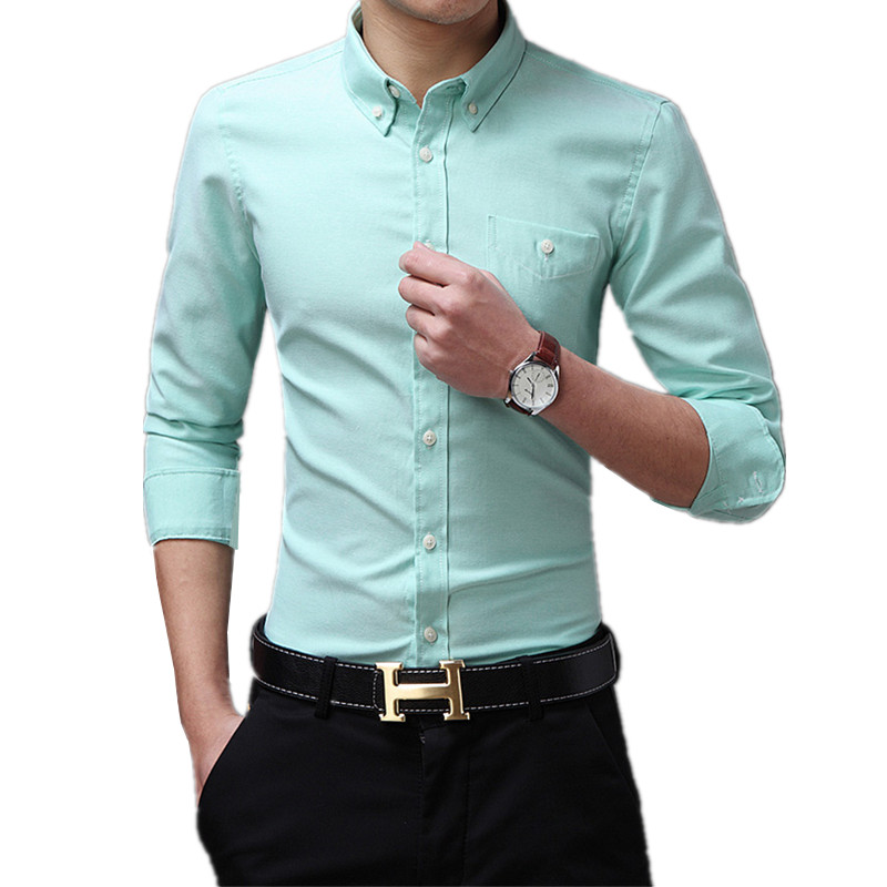 2019 New Design Shirts Cotton Pure Color White Business Formal Men Fashion Long Sleeve Social Slim Dress Shirt Big Size 5XL