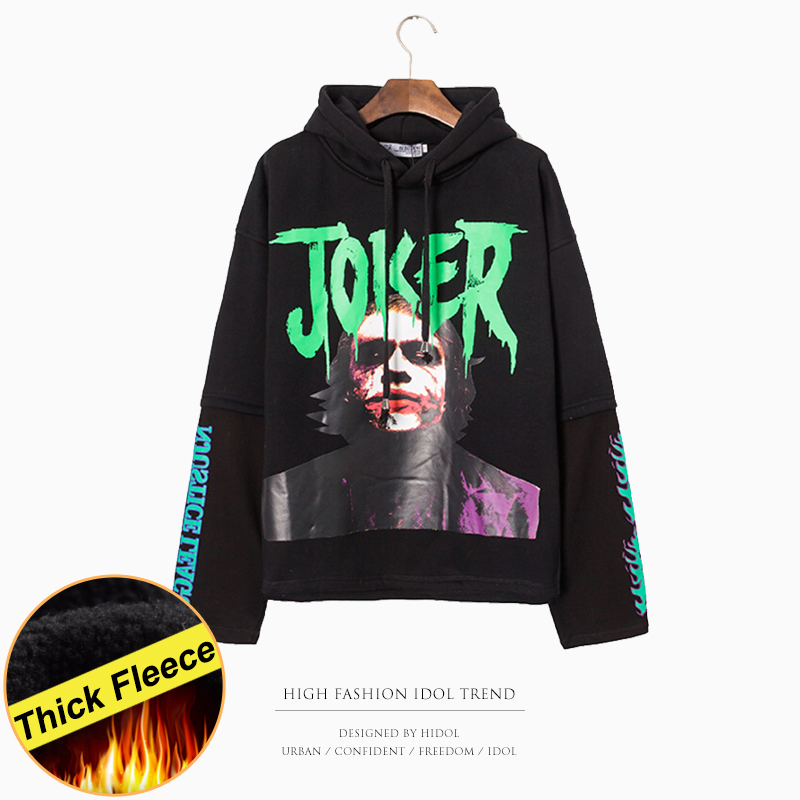 Thick Fleece Oversize False Two piece Hoodie Halloween Joker Print Harajuku Hip Hop Swag Gothic Hooded Pullover Sweatshirt Men