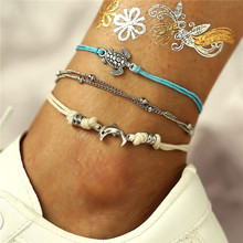 TTLIFE BOHO Multilayers Animal Anklets for Women Vintage Silver Color Turtle Shell Beach Ankle Bracelet on Foot Fashion Jewelry