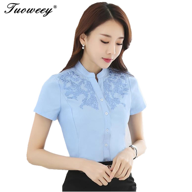 8f337f864be02 2017 Summer short-sleeve shirt female elegant formal chiffon women blouse  office plus size work wear tops white sky blue