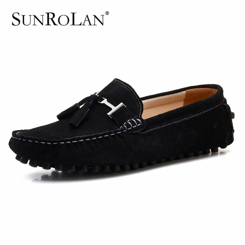 SUNROLAN Suede Leather Men Tassel Flats Shoes Brand Moccasins Men Loafers Driving Shoes Fashion Casual Slip-on Shoe for Male2026 handmade genuine leather men s flats casual luxury brand men loafers comfortable soft driving shoes slip on leather moccasins