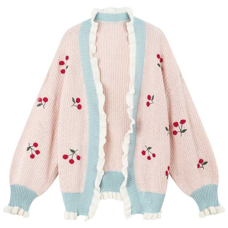 Women's Autumn Thin Sweater Cardigans Plus Size Sweet Starwberry Embroidery Kawaii Patchwork Sweater Knitted Wear Female Tops