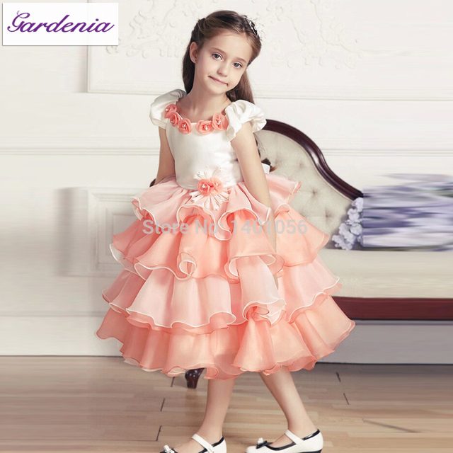 be2c91991618 Cute Ball Gown Punk Flower Girl Dress for Wedding Elegant Little Girl Prom  Dress Rebe De Fille Children Party Dress Long Pageant