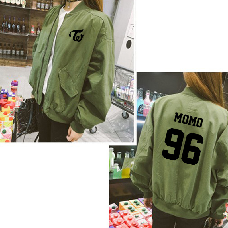 TWICE album with the same paragraph baseball uniform loose women zipper jacket spring summer jacket playing song clothes