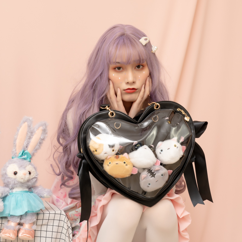 Harajuku Japanese Lolita Cute Ribbon Bow Heart-shaped Transparent Itabag Shoulder Bag Handbag Cosplay Backpack Multifunction Bag